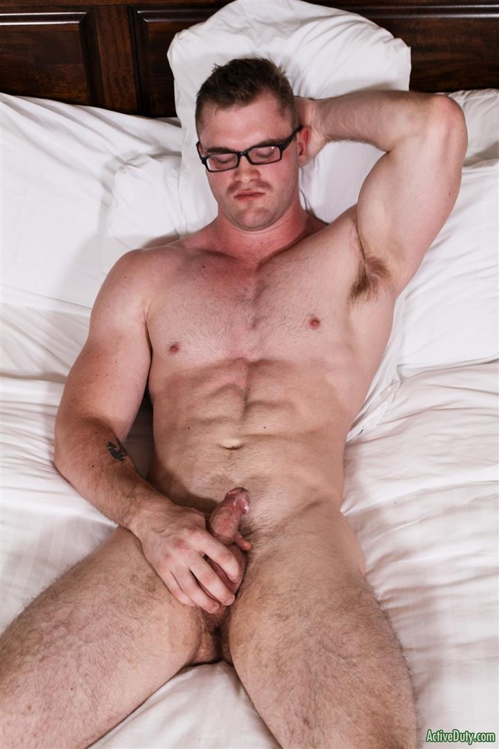 Active-Duty-Scott-Ambrose-Muscle-Naked-Marine-Jerking-Off-Amateur-Gay-Porn-15 Hairy Muscular American Marine Jerks His Thick Cock