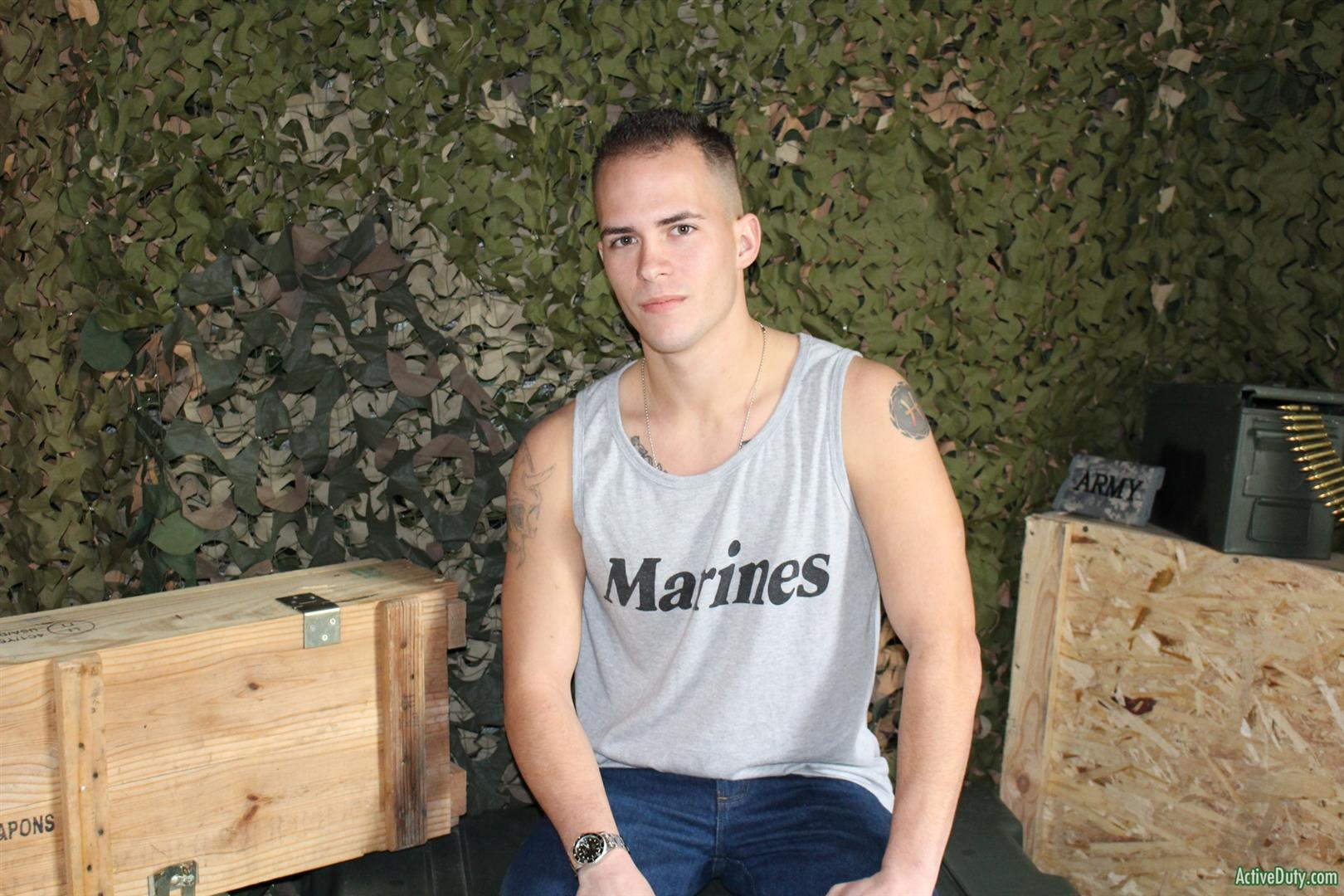 Active Duty Richard Buldger Naked Marine Jerking Off Big Dick 03 Naked Marine Jerks Off And Shoots A Load of Cum