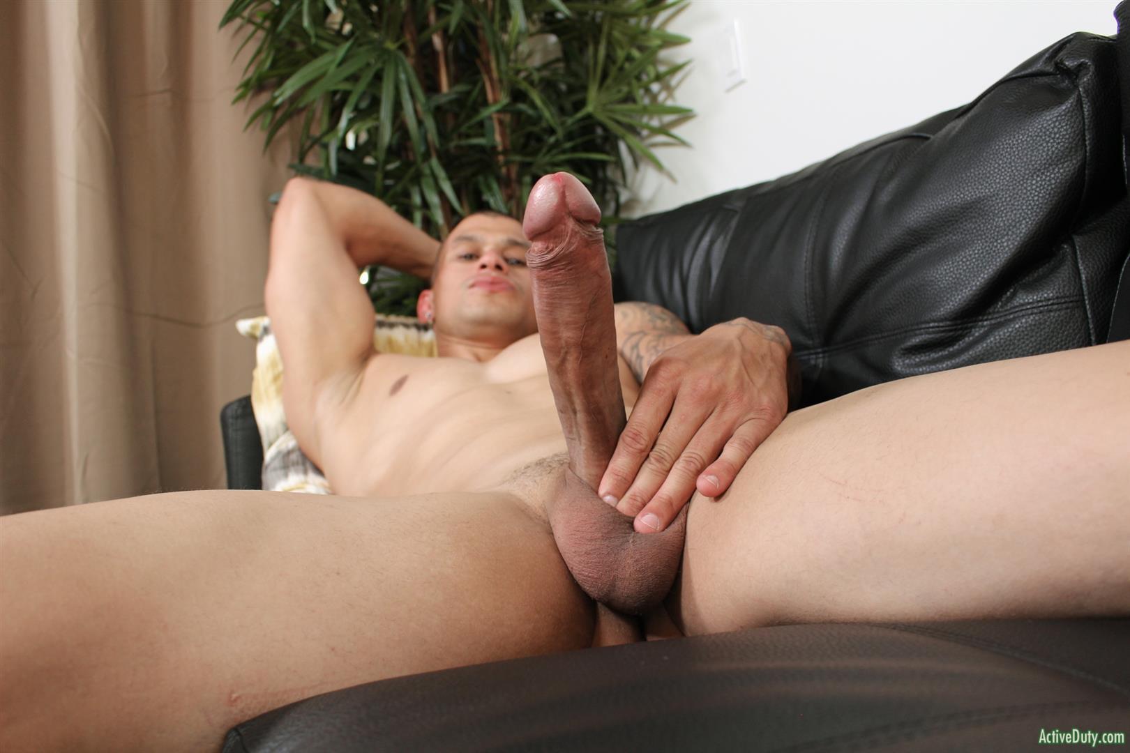 Active-Duty-Rico-Military-With-A-Big-Uncut-Cock-Masturbation-Pics-11 Muscular Military Hunk Shows Off A Massive Uncut Cock