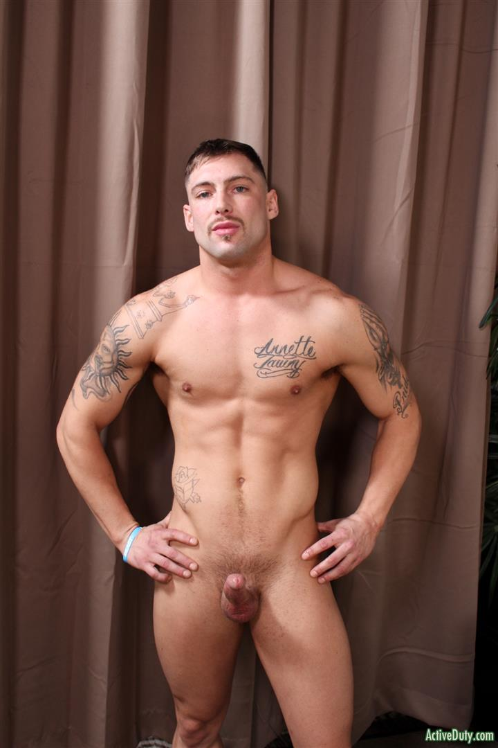 Active-Duty-Calvin-Naked-Muscular-Marine-Jerk-Off-08 Muscular Inked Up Marine Jerks His Big Dick Until He Cums