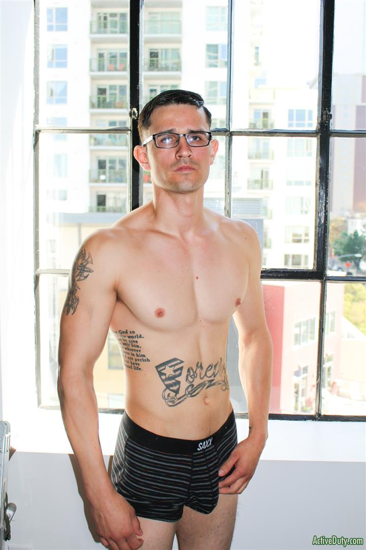 Active-Duty-Woody-Johnson-Naked-Military-Guy-Jerking-Off-Big-Cock-15 Soldier Auditions For Gay Porn And Strokes A Big Load Out